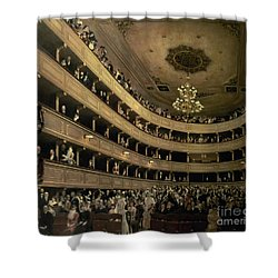 The Auditorium Of The Old Castle Theatre Shower Curtain by Gustav Klimt