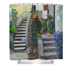 The Back Stairs Shower Curtain by Charlotte Blanchard