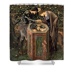 The Baleful Head Shower Curtain by Sir Edward Burne-Jones