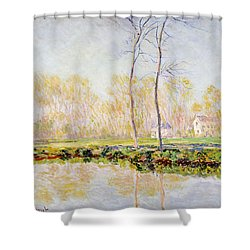 The Banks Of The River Epte At Giverny Shower Curtain by Claude Monet