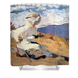 The Beach At Biarritz Shower Curtain by Joaquin Sorolla