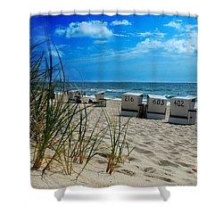 The Beach Shower Curtain by Hannes Cmarits