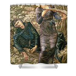 The Beguiling Of Merlin Shower Curtain by Sir Edward Burne-Jones