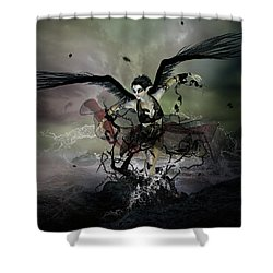 The Black Swan Shower Curtain by Mary Hood