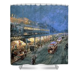 The Bowery At Night Shower Curtain by William Sonntag