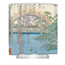 The Bridge With Wisteria Shower Curtain by Hiroshige
