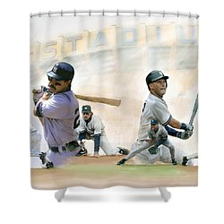 The Captains II Don Mattingly And Derek Jeter Shower Curtain by Iconic Images Art Gallery David Pucciarelli