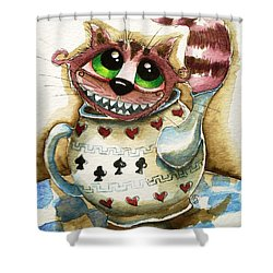 The Cheshire Cat - In A Teapot Shower Curtain by Lucia Stewart