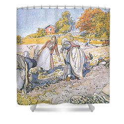 The Children Filled The Buckets And Baskets With Potatoes Shower Curtain by Carl Larsson