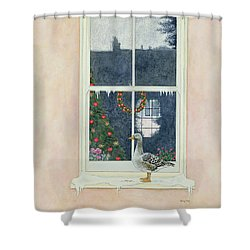 The Christmas Goose  Shower Curtain by Ditz