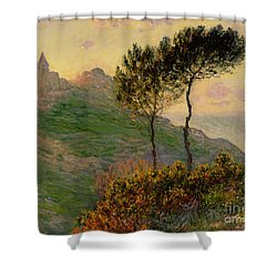The Church At Varengeville Against The Sunlight Shower Curtain by Claude Monet