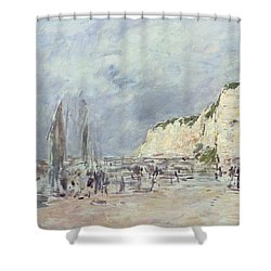 The Cliffs At Dieppe And The Petit Paris Shower Curtain by Eugene Louis Boudin