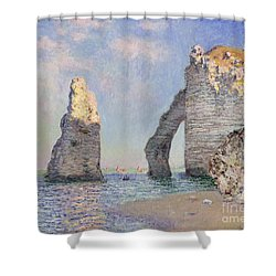 The Cliffs At Etretat Shower Curtain by Claude Monet