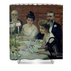 The Corner Of The Table Shower Curtain by Paul Chabas