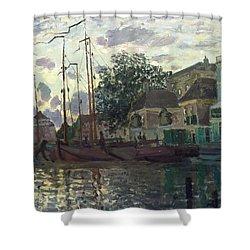 The Dam At Zaandam Shower Curtain by Claude Monet