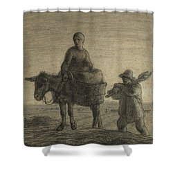 The Departure For Work Shower Curtain by Jean-Francois Millet