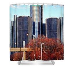 The Detroit Renaissance Center Shower Curtain by Gordon Dean II