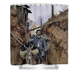 The Donkey Shower Curtain by Francois Flameng