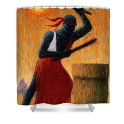 The Drummer Shower Curtain by Tilly Willis