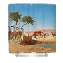 The Empress Eugenie Visiting The Pyramids Shower Curtain by Charles Theodore Frere