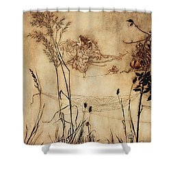 The Fairy's Tightrope From Peter Pan In Kensington Gardens Shower Curtain by Arthur Rackham