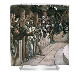 The False Witness Shower Curtain by Tissot
