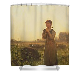 The Farm Girl Shower Curtain by Arthur Hacker