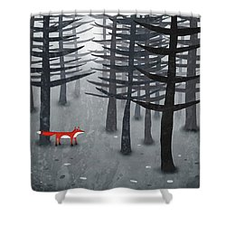 The Fox And The Forest Shower Curtain by Nic Squirrell