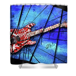 The Frankenstrat On Blue I Shower Curtain by Gary Bodnar