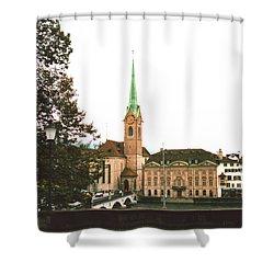 The Fraumunster Abbey In Zurich Switzerland Shower Curtain by Susanne Van Hulst