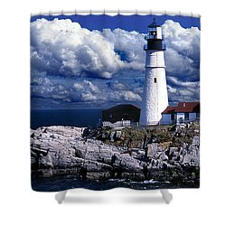 The Front At Portland Head Shower Curtain by Skip Willits