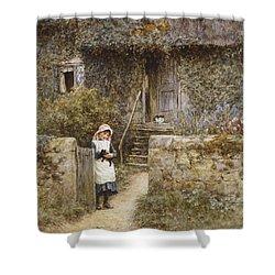 The Garden Gate Shower Curtain by Helen Allingham