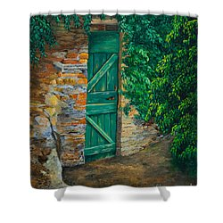 The Garden Gate In Cinque Terre Shower Curtain by Charlotte Blanchard