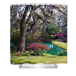 The Garden In The Abbey Shower Curtain by Susanne Van Hulst
