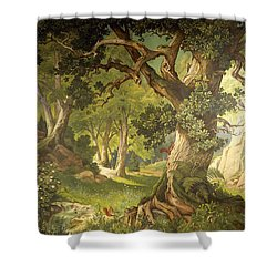 The Garden Of The Magician Klingsor, From The Parzival Cycle, Great Music Room Shower Curtain by Christian Jank