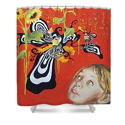 The Girl With Kaleidoscope Eyes Shower Curtain by Jacqueline DelBrocco