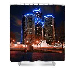 The Gm Renaissance Center At Night From Hart Plaza Detroit Michigan Shower Curtain by Gordon Dean II