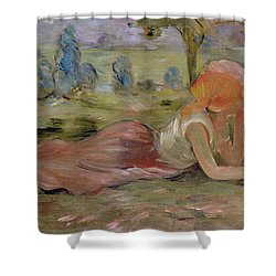The Goatherd Shower Curtain by Berthe Morisot