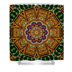 The Golden Sacred Mandala In Wood Shower Curtain by Pepita Selles