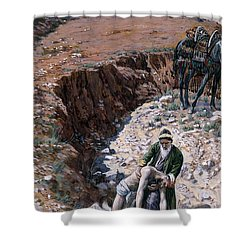 The Good Samaritan Shower Curtain by Tissot