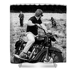 The Great Escape Shower Curtain by Mark Rogan