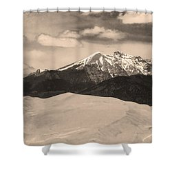 The Great Sand Dunes And Sangre De Cristo Mountains - Sepia Shower Curtain by James BO  Insogna