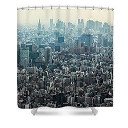 The Great Tokyo Shower Curtain by Peteris Vaivars