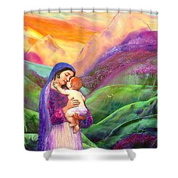 Virgin Mary And Baby Jesus, The Greatest Gift Shower Curtain by Jane Small