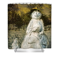 The Grunge Snowperson And Small Goth Friend Shower Curtain by Chris Lord