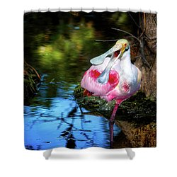 The Happy Spoonbill Shower Curtain by Mark Andrew Thomas