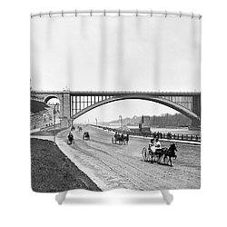 The Harlem River Speedway Shower Curtain by William Henry jackson