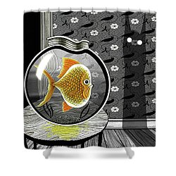 The Haunted Goldfish Bowl  Shower Curtain by Andrew Hitchen