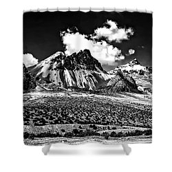 The High Andes Monochrome Shower Curtain by Steve Harrington