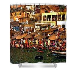 The Holy Ganges Impasto Shower Curtain by Steve Harrington
